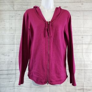 Eileen Fisher Hoodie Sz Small Full Zip Pink Cotton